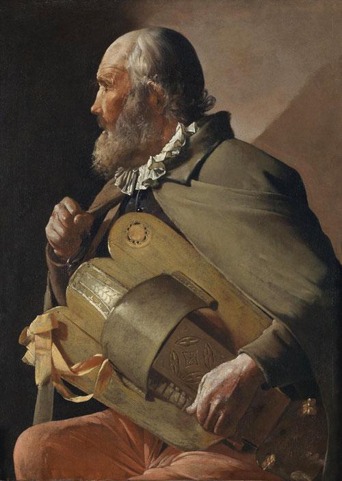 Ciego tocando la zanfonia.84x61cm.Museo del Prado.La Tour lo presenta de tres cuartos, vestido de notable dignidad.Rostro tostado con profundas arrugas,silueta de perfil que refuerza aún mas su soledad.