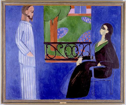 Henri Matisse. La conversación. Oleo sobre lienzo.1909, de intensidad expresiva extraordinaria con un solo color.Elemento azul que brota con belleza.Líneas rectas del hombre y curvas de la mujer y el árbol de la vida en medio.