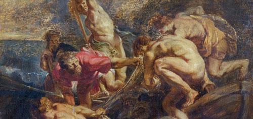 """""""Modelli"""" o boceto de La Pesca Milagrosa.Óleo sobre tabla.39x42cm.Colonia,Wallraf-Richartz-Museum.Tanto Juan 21,1-11, como Lucas 5,en sus respectivos evangelios lo tratan como el milagro tras el Mesias resucitado.Exhibición de escorzos y anatomías."""