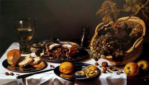 Pieter Claesz.Bodegón con frutas y copa Römer 1644.. Fue bastante peculiar el bodegón holandés, composiciones realistas de objetos cotidianos, corporeidad de los objetos y sensible empleo de las luces.