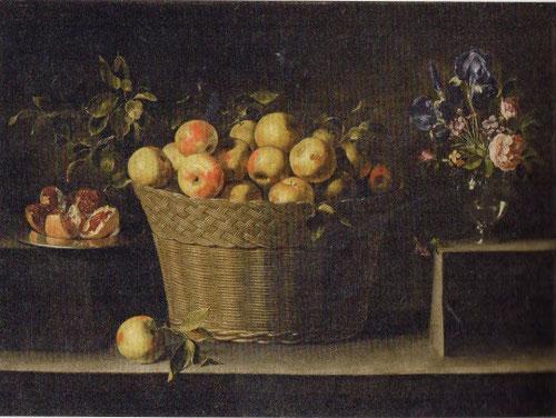 Bodegón con cesto de manzanas,plato de granadas y florero,Juan Zurbarán hijo.1643-49.Col Inna Bazahenova. Ese mismo año muere de peste Juan, hijo de Zurbarán.
