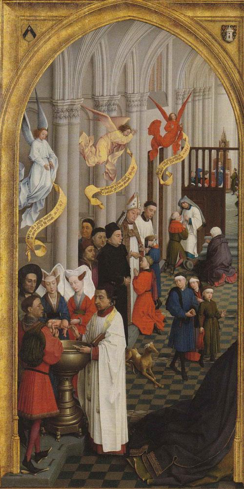 Aparecen tres sacramentos, el bautismo,confirmación, penitencia.Las filacterias doradas que portan los ángeles indican los textos de la Biblia en latín.Los escudos identifican al donante obispo de Tornai, personaje poderoso en la corte de Borgoña.