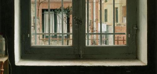 Isabel Quintanilla.Ventana,1970.Óleo sobre tabla.131x100cm.Galerie Berlin,Hamburgo.El uso de la visión noctura-diurna,los contrastes de luz y la representación de la ventana dramatizada por rejas y muros implica un cauce sórdido de presencia-ausencia.