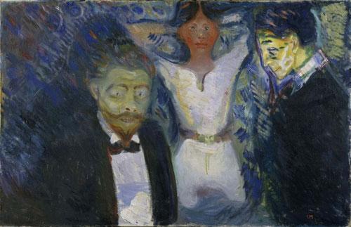 Celos 1913.Triangul amoroso,mujer dominante y amenazadora de lenguaje expresionista y sutil.