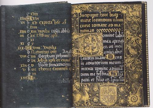 Libro de horas negro,manuscrito iluminado sobre vitela pintada en negro.SXV.Letra gótica.El escudo de armas de la portada posiblemente se refiere a Maria de Castilla, que tras la muerte de su marido encargó el misal.