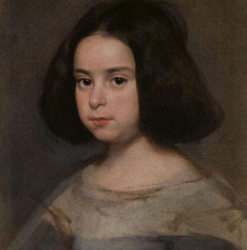 Diego Rodriguez de Silva y Velazquez,retrato de niña,1638-42. Asombrosa vitalidad y naturalismo en excelente estado de conservación. Se insinúa una posible nieta, hija de su ayudante Martinez del Mazo y su hija Francisca.