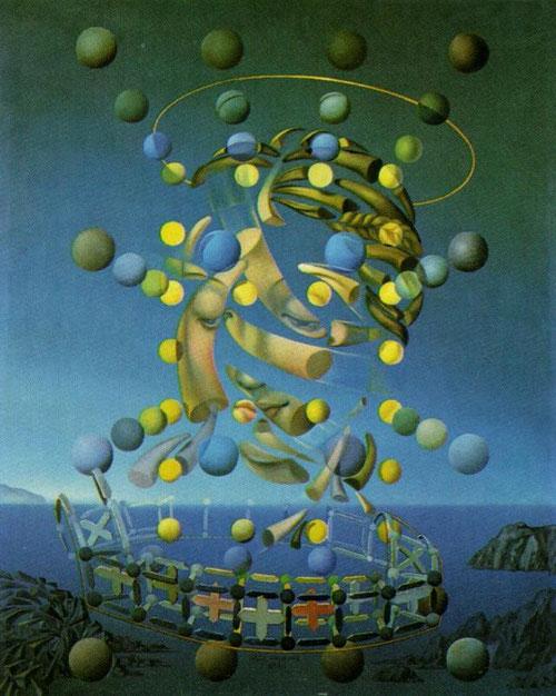 Dalí, Máxima velocidad de la Madona de Rafael 1954. Inventor de la nueva mística paranoico-crítica donde la cabeza explosiona en fragmentos que giran a su alrededor con cuernos de rinoceronte-la espiral logarítmica más perfecta de la naturaleza.