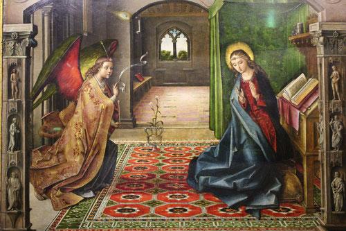 La Anunciación de Berruguete.1490-96.Óleo sobre tabla. 100 cmx139 cm. Obra maestra de Berruguete, pintor castellano al servicio de Isabel la Católica. Fue un gran conocedor de la pintura del Quatroccento italiano, tenía gran interés por el mundo flamenco.