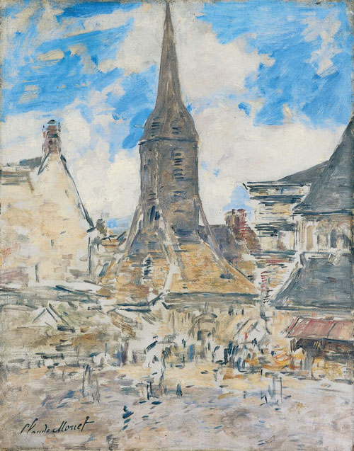 La osadía de Boudin al final de su vida pintando el campanario de Sainte-Catherine,probablemente donada a Monet por su albacea, su hijo la entregó al museo.Òleo sobre tabla.55x43cm.Musée Eugène Boudin,Honfleur.