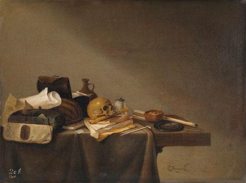 """Las naturalezas muertas conocidas como """"Vanitas"""" fueron muy populares en toda Europa tanto en España como Países Bajos. Son pinturas moralizantes que advierten sobre la fugacidad de la vida, con frecuencia con una calavera."""