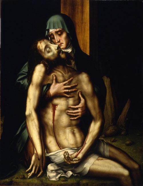 La Piedad 1560,óleo sobre tabla de roble,126x98cm.Real Academia de Bellas Artes de San Fernando.Las emociones se estimulan mediante imágenes, despertando la piedad del fiel sobre la Pasión de Cristo.