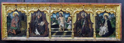 Predela con San Onofre,San pedro Mozonzo,Resurrecci´´on,San Braulio y Santa Catalina de Siena..Oleo sobre tabla de pino 72cmx224cm. Arzobispado de Zaragoza.