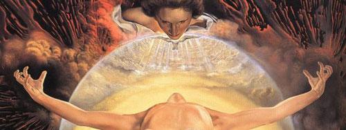 """Cuerpo de Cristo en estado de elevación ascensional del nuevo periodo que inaugura Dalí en su """" mística nuclear"""", exento de estigmas y """"penetrado por la belleza metafísica de Cristo Señor"""" encontrando la fe en la resurrección de la carne a través Grünwald"""