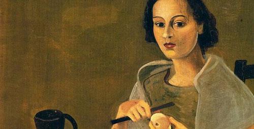 """André Derain Jeune femme pelant une pomme.1938.Óleo sobre lienzo 92x73cm.Colección Allbright-Knox Art Gallery Búfalo Nueva York. Esta obra icónica de """"vidas silenciosas"""" proclama tras la Primera Guerra Mundial una vuelta en toda Europa a un orden aparente"""