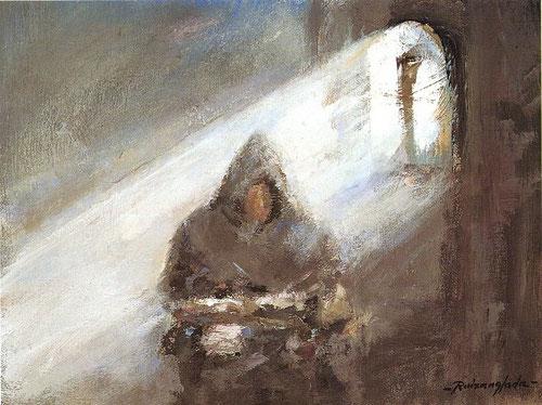 """Ruizanglada.Monje en su celda.40x30cm.1999. El expresionismo en sus contrastes lumínicos, liberado de contrastes académicos...enlaza muy bien con la mística de ojos abiertos """"Ignaciana"""" o el rayo de luz, caudal de gracia que ilumina la vida humana"""