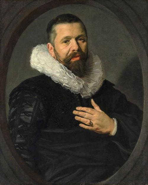 Frans Hals.Retrato de un hombre barbado con gola 1625.Óleo sobre lienzo 76x63cm.Nueva York Metropolitan Museum. Pintaba con relativa frecuencia dentro de una moldura ovalada.