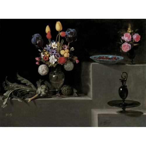 Juan Van der Hamen y Leon.Bodegón con alcachofas, flores y recipientes de vidrio 1627.Óleo sobre lienzo 81x110cm.Museo del Prado Madrid.