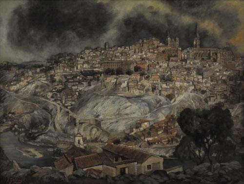 Zuloaga elige paisajes con un claro dinamismo influencia del Greco, bajo un cielo tormentoso como los fondos toledanos de las composiciones del Greco.Real Academia de Bellas Artes de  San Fernado