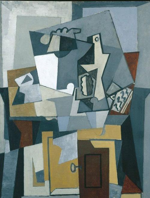 Naturaleza muerta frente a un balcón con puerta y llave,París 1919.Óleo sobre lienzo,92x65cm.Colección de Marina Picasso. Todo el asunto era inventado, no había ni velador, ni guitarra en la habitación con vistas al mar de Picasso.