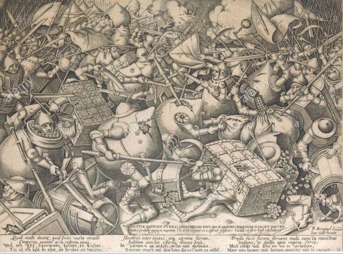 Pieter Brueghel el Viejo y Pieter van der Heyden. Ilustran de maravilla y pedagogíala Pelea por el dinero en este aguafuerte y grabado de tinta sobre papel. Cualquier verdad es insuficiente si se aisla del contexto con lucidez de ideas y sútil comprensión