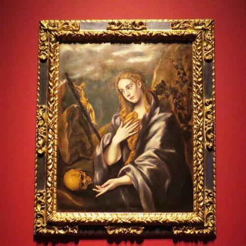 Santa Mª Magdalena 1597 El Greco.Óleo sobre lienzo 99x78cm,imagen de la santa más promocionada por la Contrareforma.Santos individualizados para la devoción personal y privada,color veneciano vivo y suntuoso,fisonomías estilizadas según el manierismo.