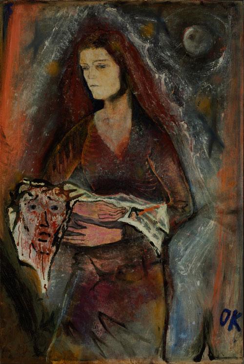 Oskar Kokoschka.La Verónica,1909. Expresionista impactado por la Sabana de Turín con las huellas de la faz de Cristo,la sagrada figura femenina está impregnada de mística espiritualidad.Agitadas pinceladas que se funden en el velo que sostienen sus manos.