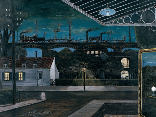 Paul Delvaux.El Viaducto 1963.Óleo sobre lienzo 100x130cm.Colección Carmen Thyssen en depósito.