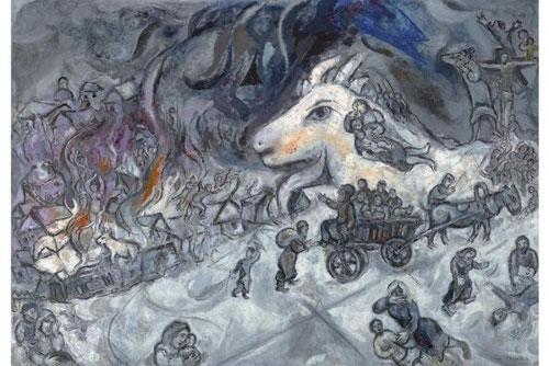 La guerra.1964-66 Kunsthaus Zurich. La aldea, símbolo de una vida pasada, sangre,fuego, animal mítico níveo, y en lo alto Cristo que reúne y agrupa una vez mas a las víctimas de la tragedia.
