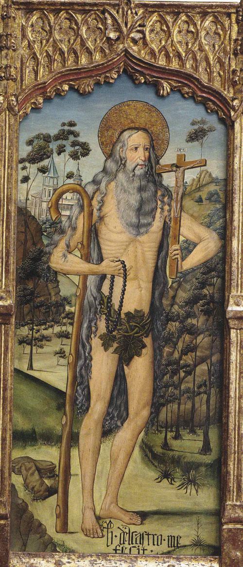 """San Onofre.""""Bartolomé de Castro me fecit""""1500.Santo eremita del SIV en meditación abstraida, rosario y crucifijo, barba y cabellos canos de costillas enjutas."""
