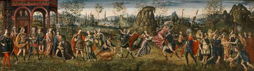 Amico Aspertini.El rapto de las sabinas.47x153cm.Frontales de un arcón de boda.