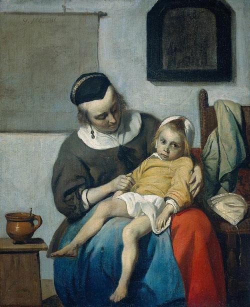 Gabriel Metsu.El niño enfermo 1664.Óleo sobre lienzo 32x72cm.Amsterdam Rijksmuseum.