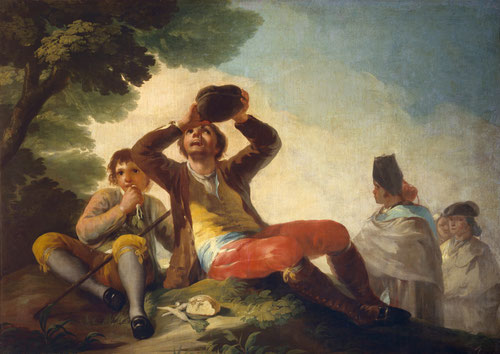 """El bebedor.Goya,1777.Museo del Prado.Bebedores y fumadores son habituales en los cartones de Goya, como """"vanitas"""",figuras grotescas que indican falta de moralidad y la fragilidad de la existencia humana."""