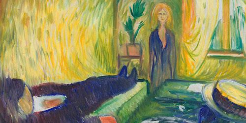 Asesinato 1906..El juego de diagonales que se establece entre el cuerpo inerme del hombre con la verticalidad de la joven,aumenta esta violencia de escena erótica.