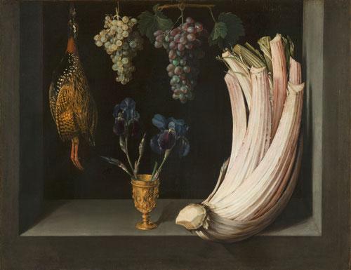 Felipe Ramírez.Bodegón con cardo, francolín, uvas y lirios 1628.Óleo sobre lienzo 71x92cm.Museo del Prado Madrid.