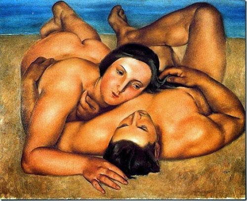 Josep Togores. Pareja en la playa 1922.Óleo sobre lienzo,89x116cm.Museo Nacional de Arte Reina Sofía.