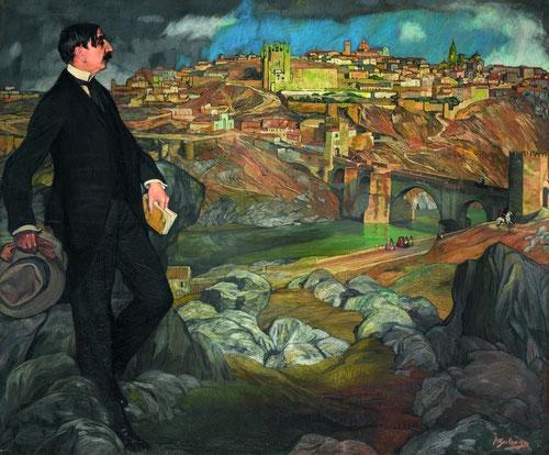 Retrato de Maurice Barrès 1913..Musée d´Orsay Paris. Diputado de la Tercera República francesa fue impulsor del nacionalismo conservador basado en raíces románticas. Esta pintura por su viaje a Toledo contribuye a impulsar la figura del Greco.