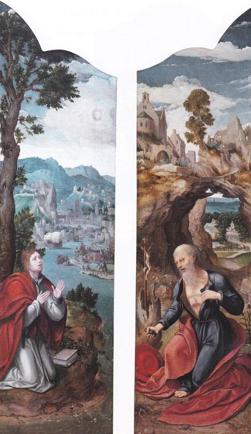La tabla de la derecha representa a san Jerónimo penitente con túnica azul,manto rojo y capelo cardenaliceo.La iconografia nos lo presenta con piedra en la mano golpeandose el pecho.Izquierda san Juan en Patmos arrodillado