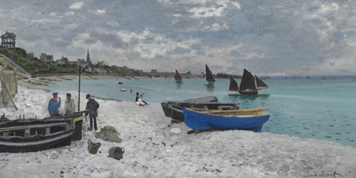 Claude Monet.La playa de Saint Addresse 1867.ôleo sobre lienzo 78x102cm.The Art of Institute of Chicago. Monet se instaló en la costa normanda en temporadas.Equilibrada panorámica de la bahía hacia el oeste,paleta de tonos frios  y brillantes.