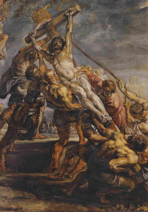 La elevación de la Cruz.Óleo sobre papel montado en lienzo.Toronto Art Gallery.Detalle del boceto que Rubens pintó a escala monumental para una Iglesia de Ambers.Le ayudó a conseguir el encargo para StaWallburga su amigo comerciante Cornelis Geest.
