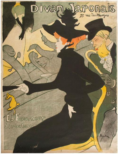 Toulouse Lautrec. Divan Japonais 1893.Litografia en color.81x62cm. Musée d´Ixelles.Bruselas. Elegante y sofisticada mujer que ilustra a la perfección cómo Lautrec no pretendía ser moralizador frante a los burdeles, sino empático.