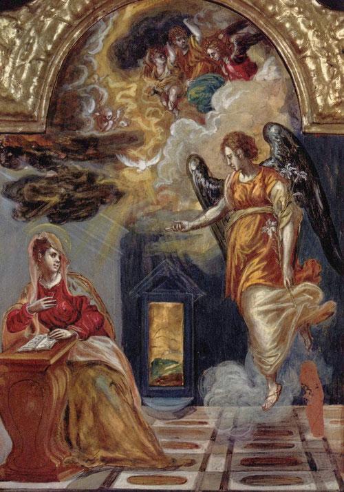 El Greco.Anunciación del Tríptico de Módena.1560-65.Temple sobre tabla.24cmx18cm.Tabla lateral izquierda, lado posterior.Modena Galleria Estense.Empleo dorados bizantinos con marcados trazos lineales, nubes rosáceas de vivas tonalidades.
