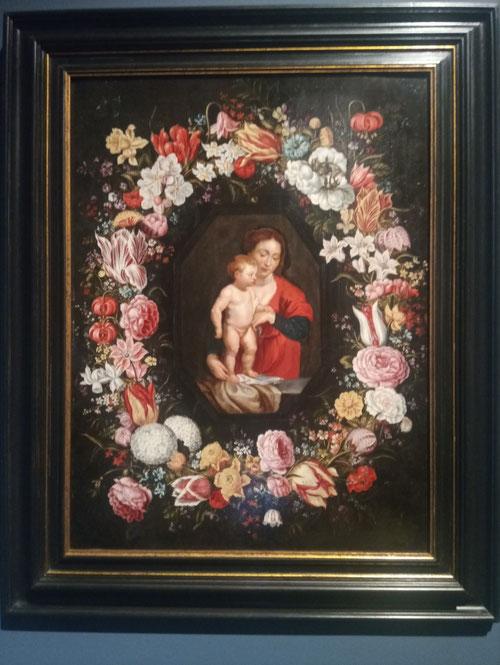 Jan Brueghel el Viejo y Pedro Pablo Rubens.La Virgen y el Niño rodeados por una guirnalda de flores.1616-18.Óleo sobre tabla.64x49cm.Colección privada.También mostró interés el arzobispo de Milán, amigo de los Brueguel y gran coleccionista de sus obras.