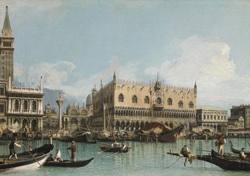 Giovani Antonio canal,Canaletto.Muelle de Venecia próximo a la plaza de San Marcos, 1729.Pintor más famoso de Vedute de Venecia.Dos célebres columnas con las estatuas de San Marcos y de San Teodoro, ambos patronos de la ciudad.