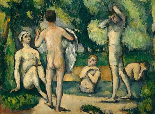 P.Cézanne.Bañistas.1880.Óleo sobre lienzo.34x38cm.Detroit Institute of Arts. Cinco desnudos masculinos, cinco figuras encadenadas por sus gestos y sus miradas