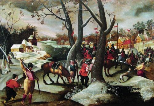 Marten van Cleve.Paisaje invernal con la matanza de los inocentes.1570.Óleo sobre tabla.74x106cm.Colección privada en Bélgica.