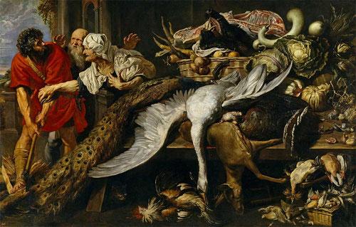 Filipómenes descubierto1609-10.Óleo sobre lienzo.201x311cm.Museo del Prado.Es la respuesta de Rubens al emergente género del bodegón o naturaleza muerta,colaboración de Snyders.Espectacular escena del General griego(253AC)modestamente vestido en cocina.