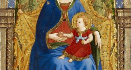 El azul del manto de la Virgen, el rojo de su vestido y el  vermellón de la túnica de Cristo niño han perdido parte de la sutileza, aunque no su belleza emocional.La granada, todo un código figurativo con intenciones didácticas.