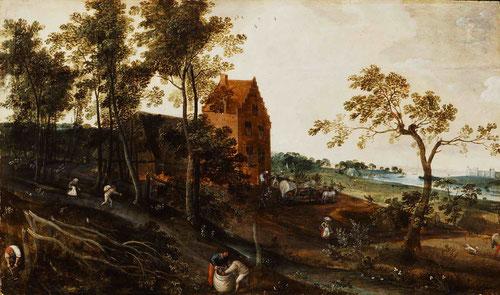 Jacob Grimmer,el verano 1577.Paisaje colindante con un bosque y casa construida en ladrillo,un hombre recibe una jarra de una mujer. Composicion en diagonales,paisaje típico flamenco.