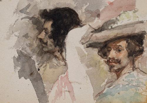 Detalle de Las Lanzas, copia de Velázquz,1868. Acuarela sobre papel.10x13cm.Colección Mascort Barcelona.