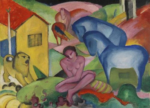 El sueño de Franz Marc o el deseo de presentar la naturaleza en su estado mas primitivo a través de la ensoñación. La figura femenina dsnuda rodeada de animales simboliza la armonía entre el hombre y naturaleza.